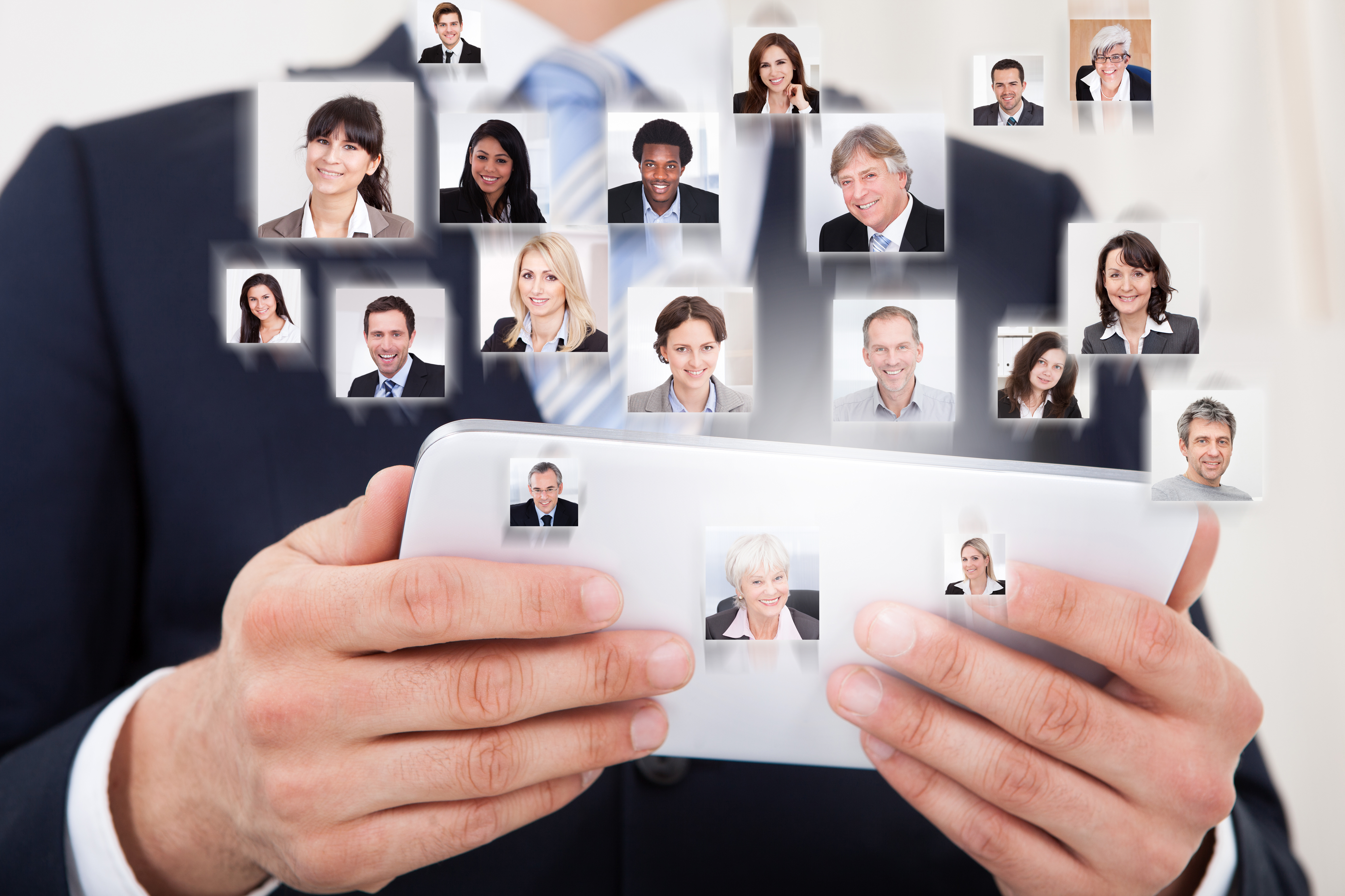 Collage of business people with businessman using digital tablet representing global communication